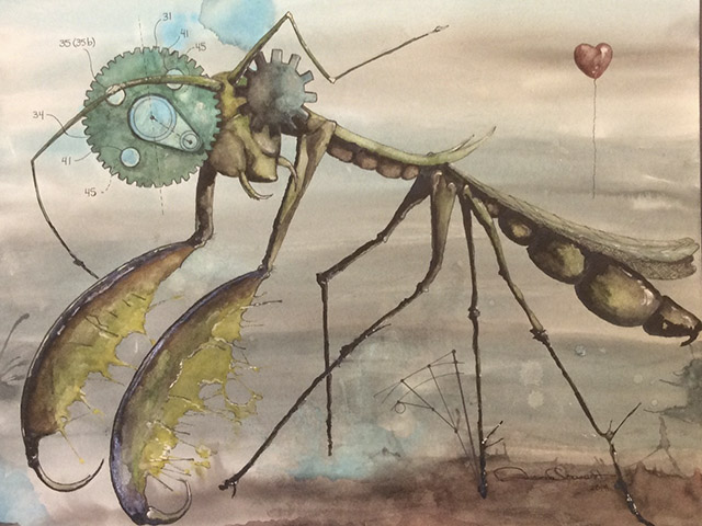 Praying mantis painting by Amanda Charest.