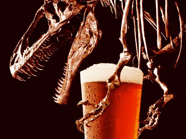 Dinosaur (Acrocanthosaurus) enjoying a beer.