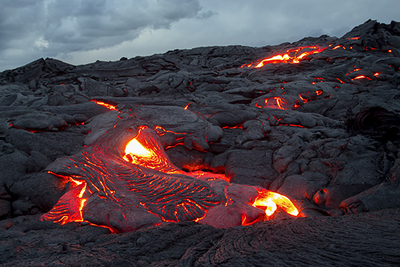 Up close and personal with a fresh breakout of pahoehoe lava on the Big Island, Hawaii.