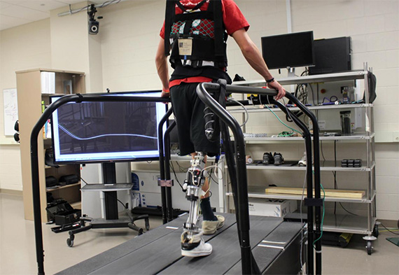 This powered prosthesis enables an amputee to walk. Photo courtesy Dr. Helen Huang.