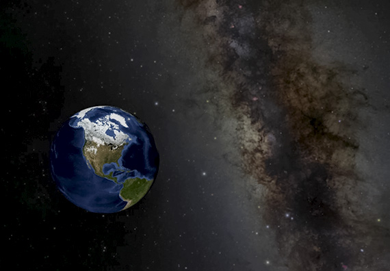 View of Earth with an accurate background star field, made with OpenSpace visualization software.