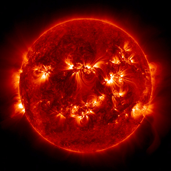 The Sun with about a dozen active regions.