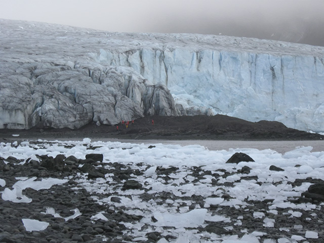 Members of the research team approach Ecology Glacier on Livingston Island. Photo: Jon Moore