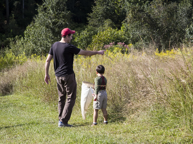 A father and son catching insects at Prairie Ridge during Take a Child Outside Week. Photo: Karen Swain/NCMNS.