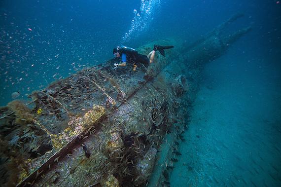 Sunken Submarine U352 with diver