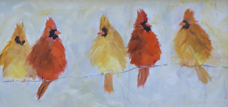 """Cardinals in Winter"" by Rita Baldwin"
