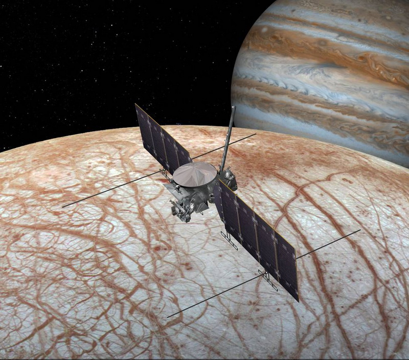 This artist's rendering shows NASA's Europa mission spacecraft, which is being developed for a launch sometime in the 2020s. Image credit: NASA/JPL-Caltech.