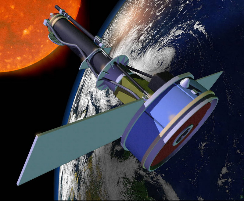 Artist's concept of the Interface Region Imaging Spectrograph (IRIS) satellite in orbit. Image credit: NASA.