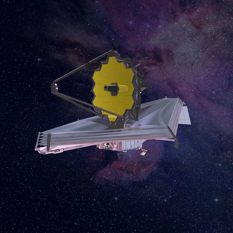 Artist's rendering of the James Webb Space Telescope in space. Image credit: Northrop Grumman.