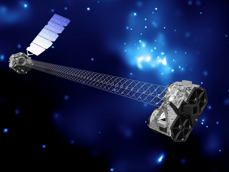 Artist's concept of NuSTAR in orbit. NuSTAR has a 10-meter (30') mast that deployed after launch to separate the optics modules (right) from the detectors in the focal plane (left). The spacecraft, which controls NuSTAR's pointings, and the solar panels, are with the focal plane. NuSTAR has two identical optics modules in order to increase sensitivity. The background is an image of the Galactic center obtained with the Chandra X-ray Observatory. Image credit: NASA/JPL-Caltech.