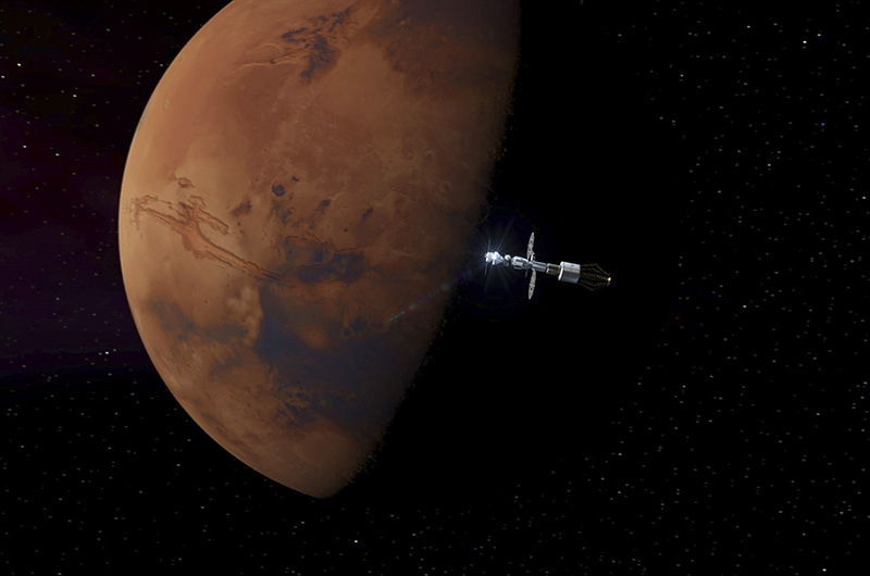 Artist's concept of the Orion spacecraft on a future mission to Mars.