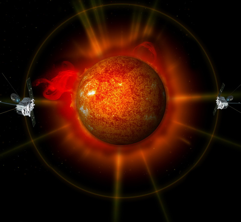An artist's concept of the Solar TErrestrial RElations Observatory (STEREO) surrounding the Sun. Image credit: NASA.