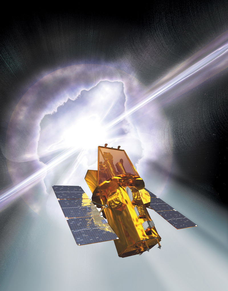 An artist's rendering of the Swift spacecraft with a gamma-ray burst going off in the background. Image credit: Spectrum and NASA E/PO, Sonoma State University, Aurore Simonnet.