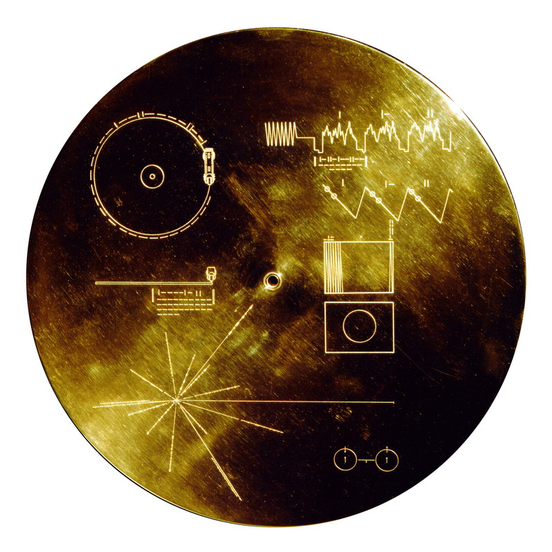 The Golden Record cover, and its visual instructions. Image credit: NASA/JPL.
