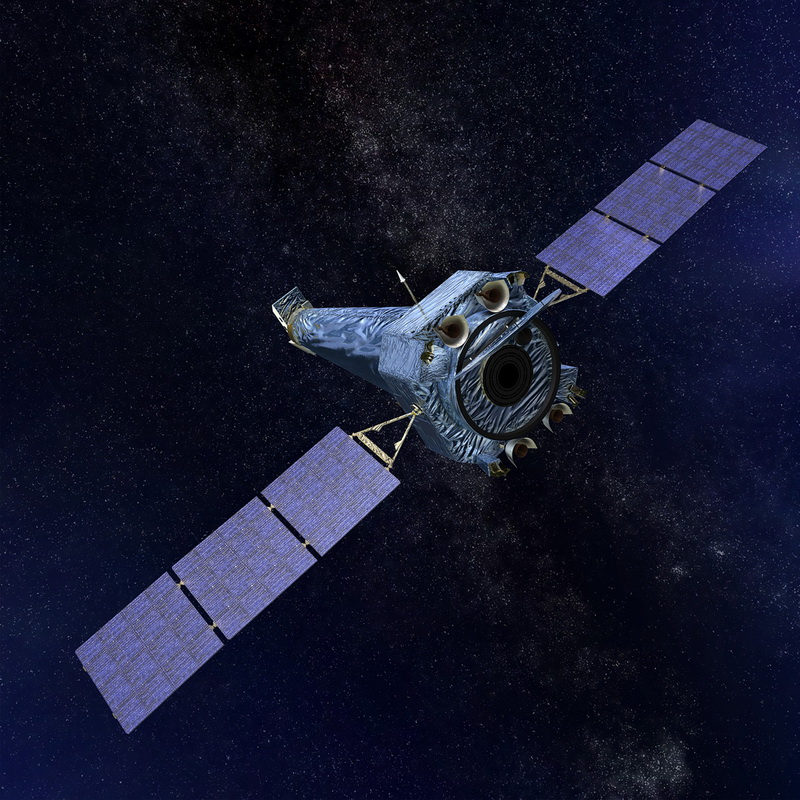 This artist's illustration depicts NASA's Chandra X-ray Observatory in space. Image credit: Next Generation Space Telescope.