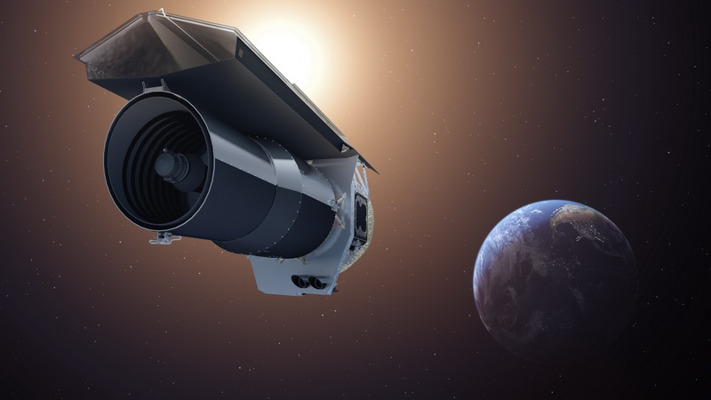 This artist's concept shows NASA's Spitzer Space Telescope. Spitzer is depicted in the orientation it assumes to establish communications with ground stations. Image credit: NASA/JPL-Caltech/T. Pyle (IPAC).
