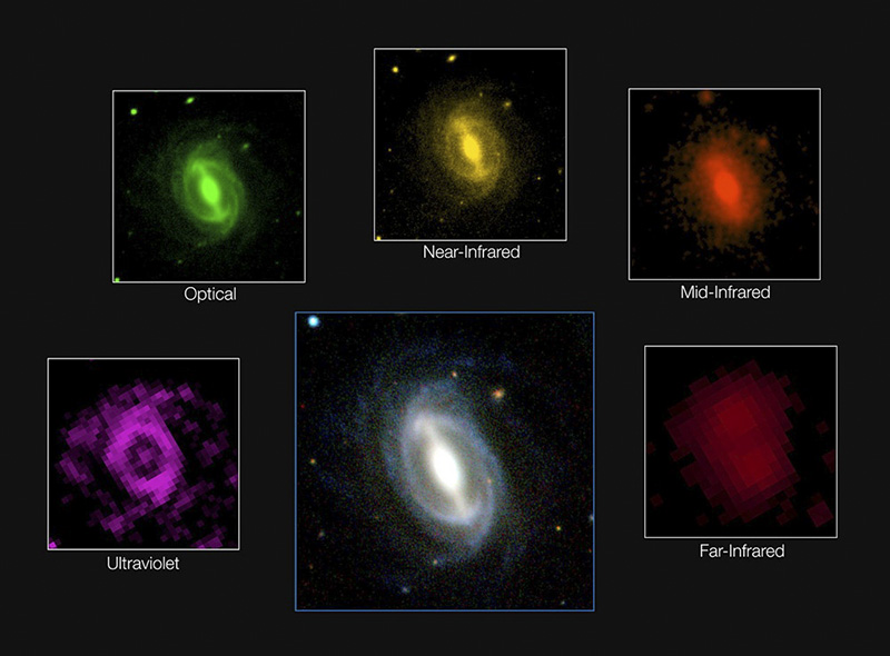 This composite picture shows how a typical galaxy appears at different wavelengths in the GAMA survey. Photo credit: ICRAR/GAMA and ESO.