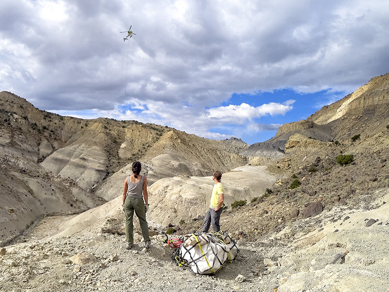 Dinosaur egg clutch in plaster resting on Utah desert with two paleontologists watching as helicopter arrives to airlift the fossils.