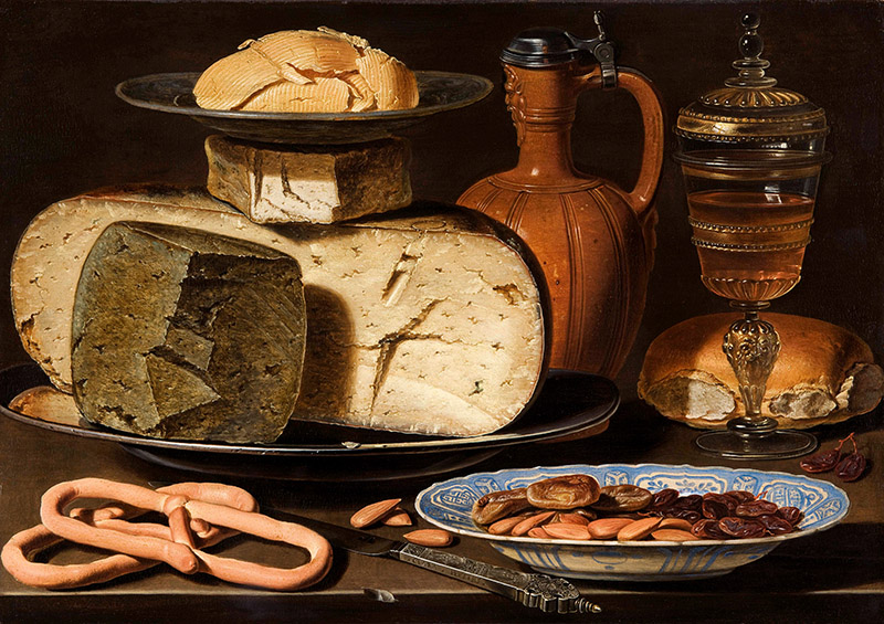 Many of the foods we eat like bread, cheese, pickles, and chocolate wouldn't be on our menus if it wasn't for microbes. Still Life with Cheeses, Almonds and Pretzels, Clara Peeters, c. 1615