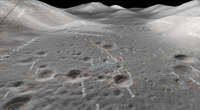 Overview of Taurus-Littrow, the landing site of Apollo 17, December 11, 1972. Created with OpenSpace data visualization software. Image courtesy of Carter Emmart.