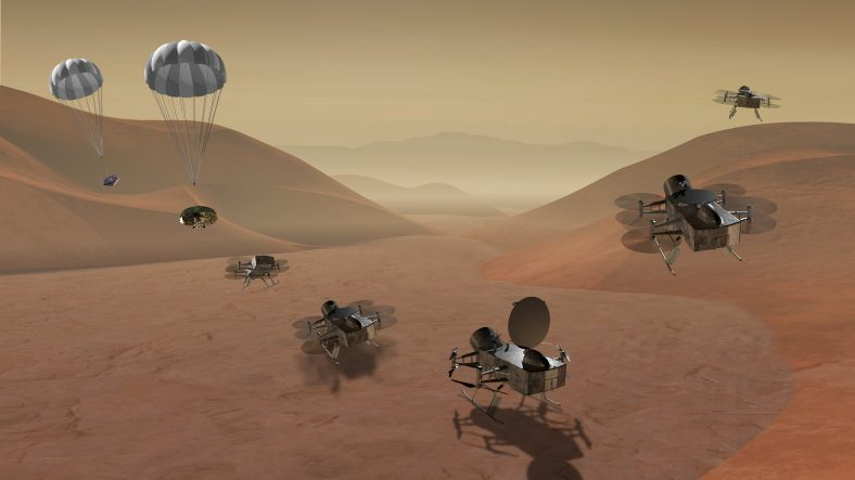 Digitally created image of Dragonfly drone landing and taking off on Titan