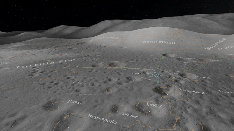 Apollo 17 landing sites as viewed with OpenSpace software. Click to enlarge.