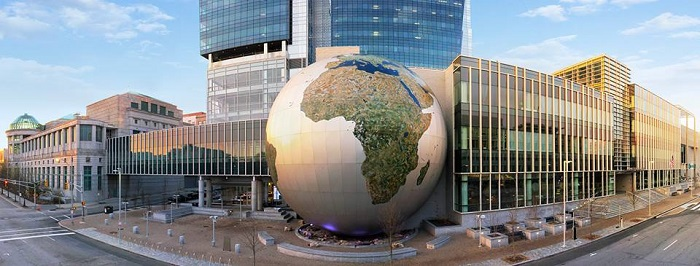 The front of the NRC downtown! The globe of the SECU Daily Planet Theater stands proudly in front of the Museum. IT'S MASSIVE!