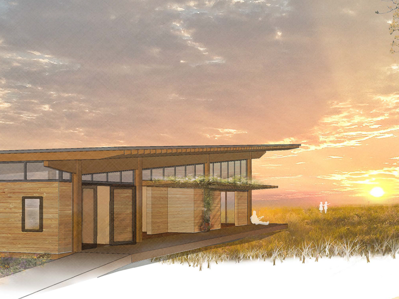Architect's rendering of the new welcome center at Prairie Ridge Ecostation.