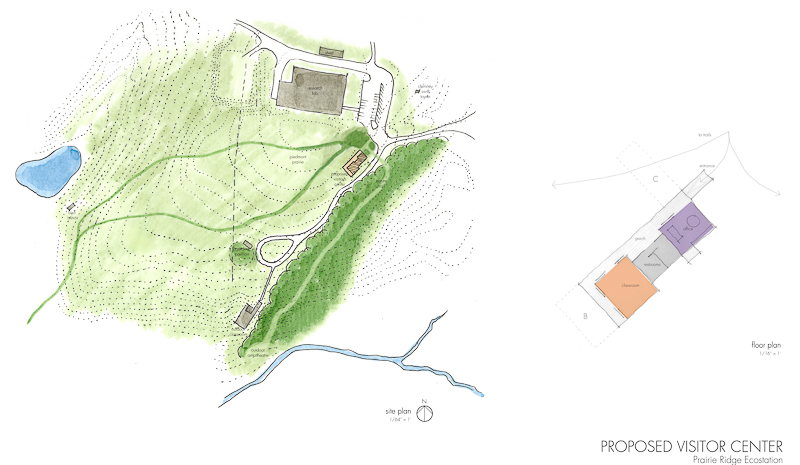 Prairie Ridge site plan and floor plan for new welcome center.