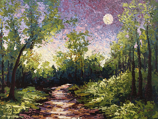 Painting of forest path by moonlight by Karin Neuvirth