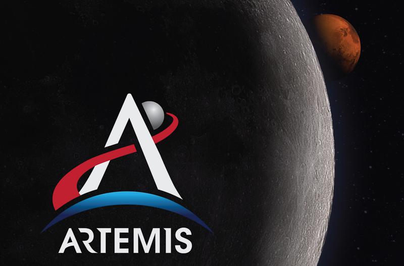 Artemis mission logo, Moon and Mars