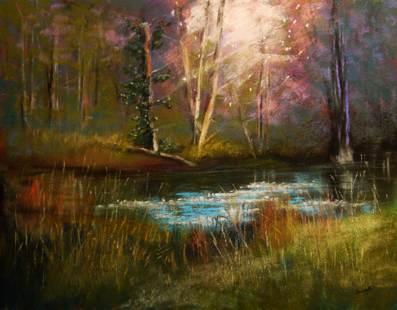 A Tapestry of Fascination - painting of light on forest, grass and water by Kaufman.