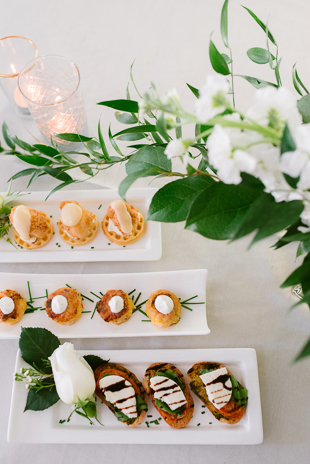 Three kinds of fancy hors d'oeuvres.