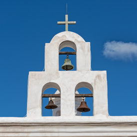 Bell tower at San Xavier Mission.