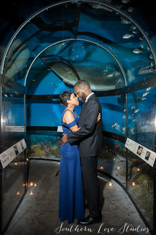 Newlyweds pose for a photo in the prehistoric undersea tunnel.
