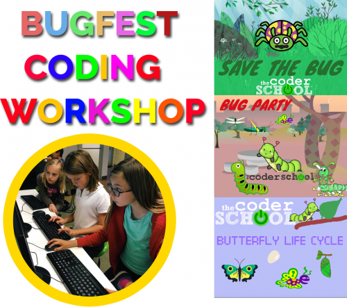 Cartoons with bugs and children coding