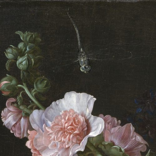 A painting of a dragonfly over pink flowers