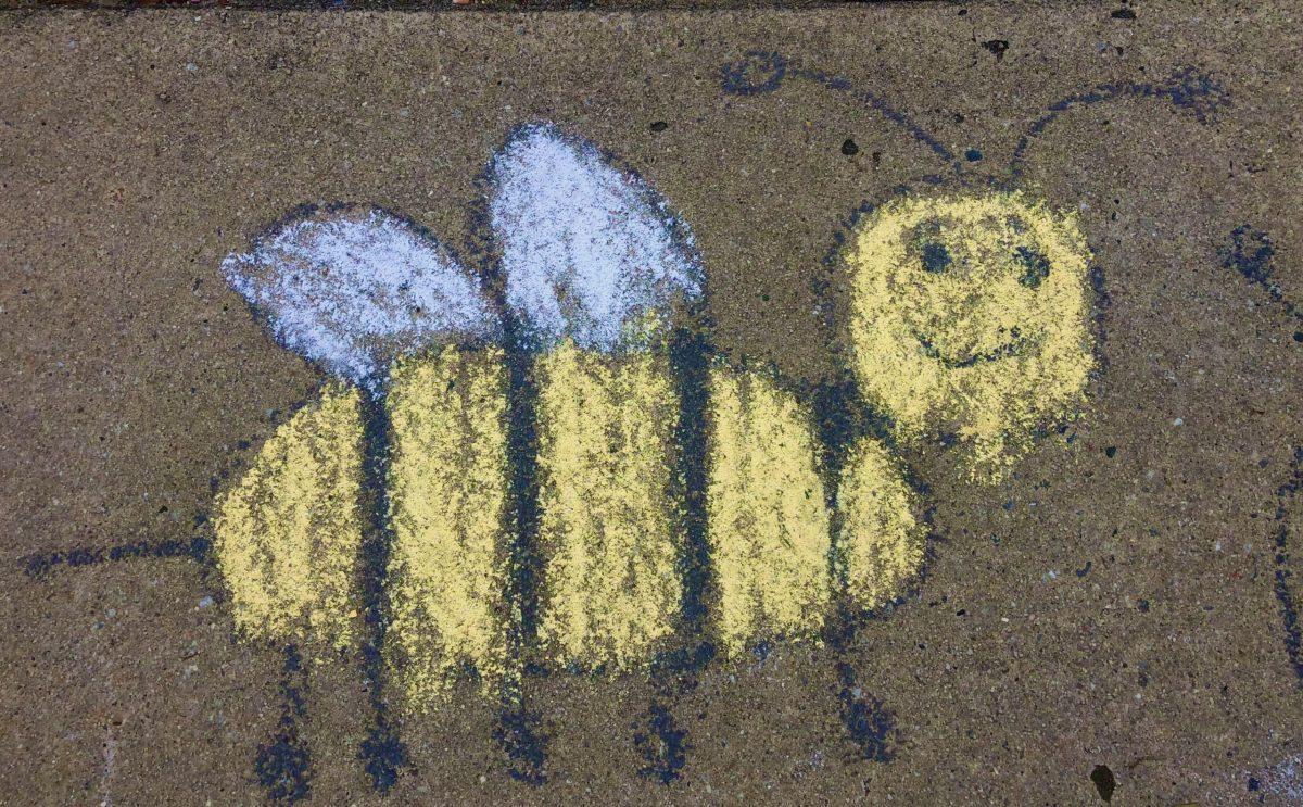 a chalk honeybee
