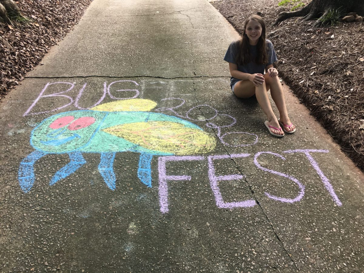 A girl sitting next to a chalk rainbow bug and bugfest