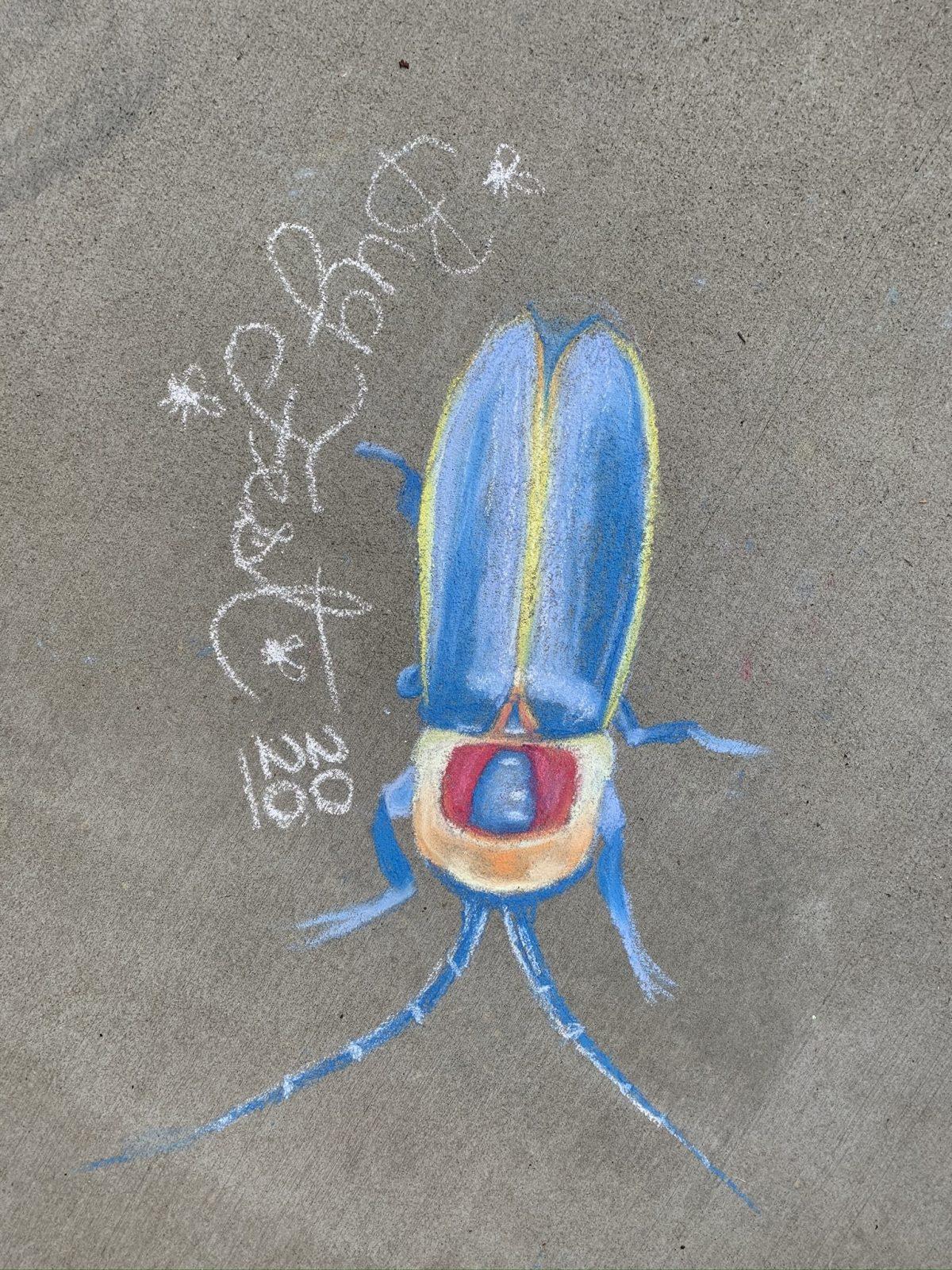 a beautiful chalk lightning bug