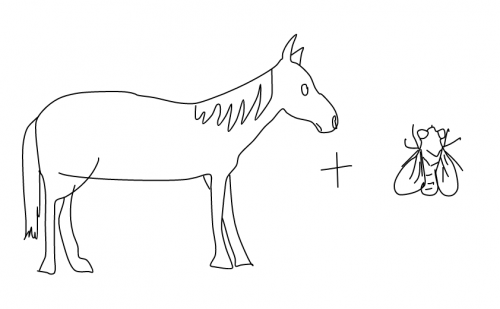 a line drawing of a horse plus a fly