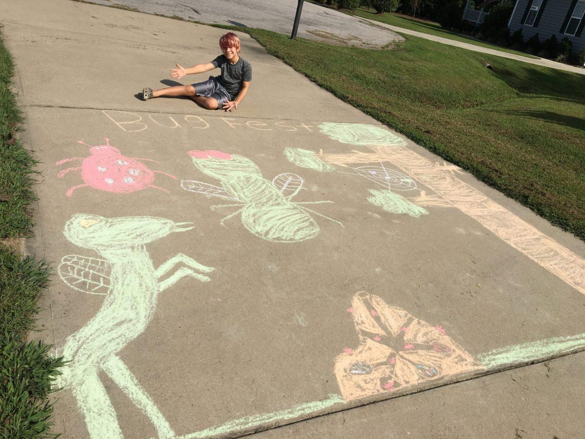 a boy with big chalk bugs