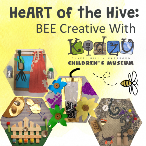 HeART of the Hive with examples of children's art on hexagons