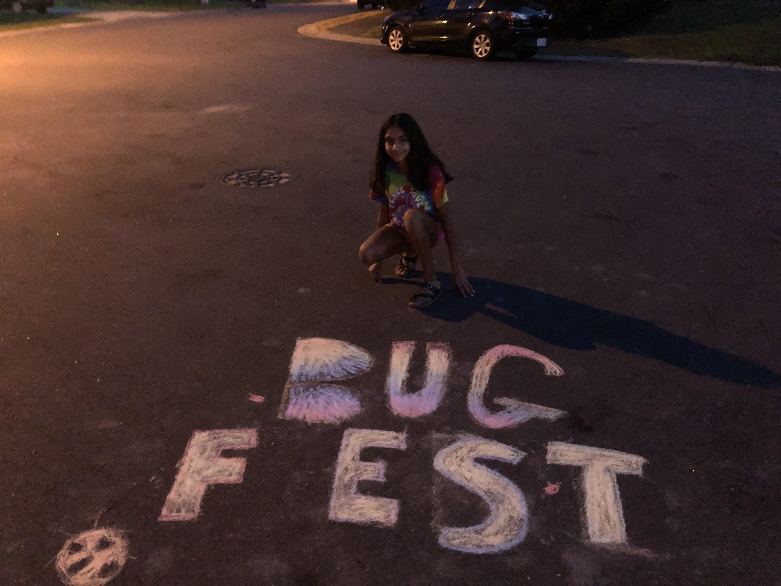 Pink BugFest and a young girl