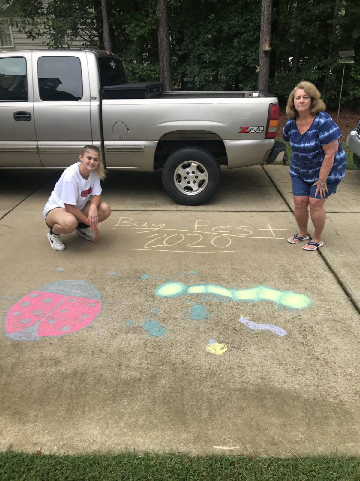 Cute chalk bugs, two people and a silver truck