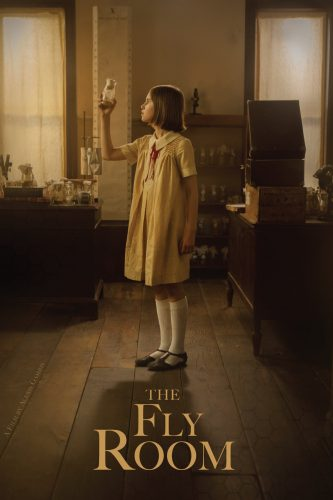 Movie poster for The Fly Room with a young girl holding up a flask in a laboratory