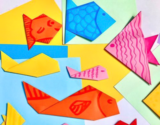 Colorful paper fish made with origami