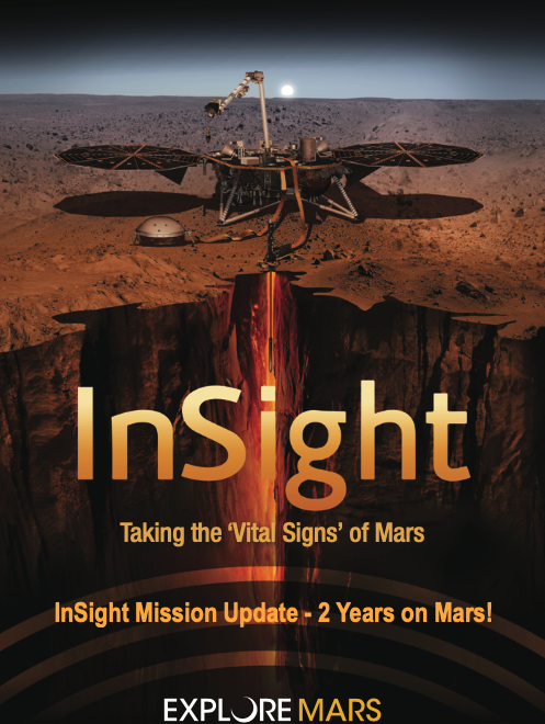 A poster of the InSight mission featuring a spacecraft over Mars