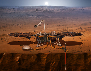 InSight mission featuring a spacecraft over Mars. Image Credit: NASA/JPL-Caltech..