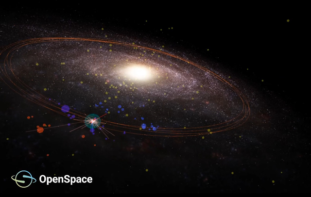 A galaxy rendered in OpenSpace